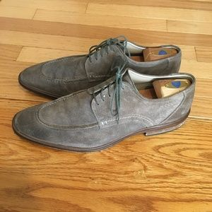 ECCO Mens Suede Oxford Dress Shoe Gray Leather
